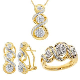 Divina Gold Overlay 1/10ct Diamond Jewelry Set (I-J, I2-I3)