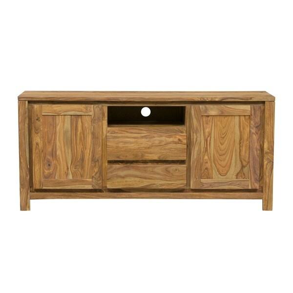 Handmade Wanderloot Urban 64 Inch Sustainable Sheesham 2 Door 2 Drawer TV  Stand
