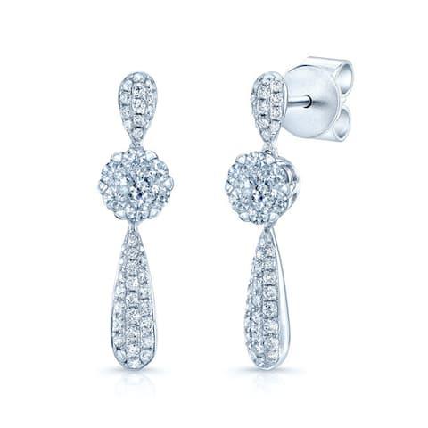 14k White Gold 5/8ct TDW Diamond Drop Earrings