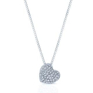14k White Gold 2/5ct TDW Diamond Pave Heart Pendant (H-I, SI1-SI2)