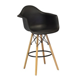 Mid-century Modern Eames Style Molded Plastic 26-inch Armchair/ Counter Stool