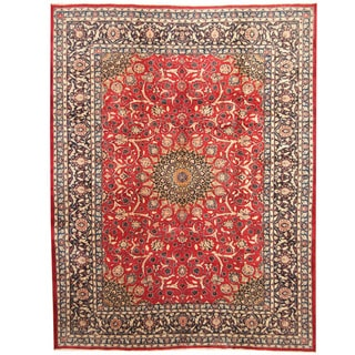 Herat Oriental Persian Hand-knotted Mashad Wool Rug (9'7 x 12'5)