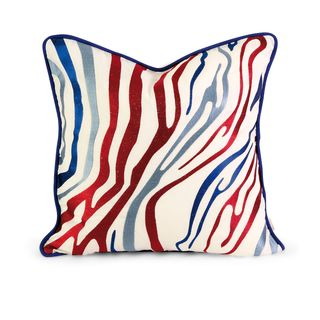 IK Bahari Multi-Color Embroidered Linen Pillow with Down Fill