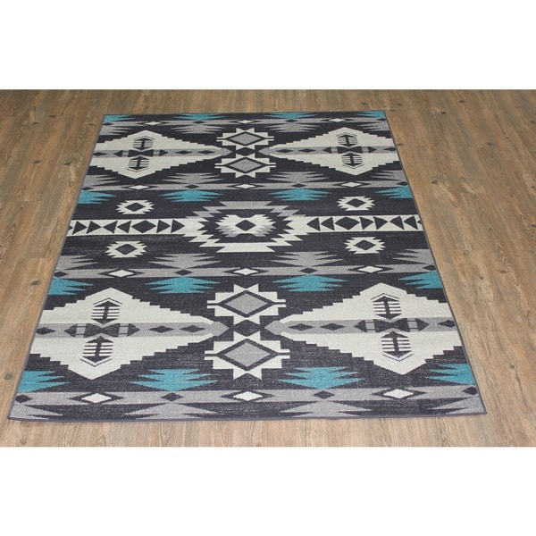 Kilim Turquoise Black Gray Silver Area Rug 5 3 X 7 5