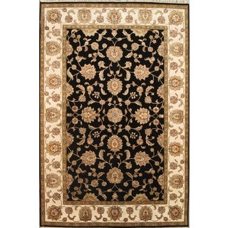 Pasargad Agra Hand-Knotted Black-Ivory Silk and Wool Rug (6' x 9')