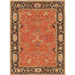 Pasargad Ferehan Hand-Knotted Rust-Navy Wool Rug (6' x 9')