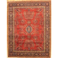 Pasargad Sarouk Hand-Knotted Rust-Navy Wool Rug (4' x 6') - 4 x 6