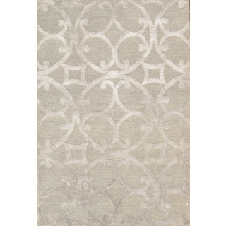 Pasargad Modern Hand-Knotted Mint-Silver Silk and Wool Rug (6' x 9')