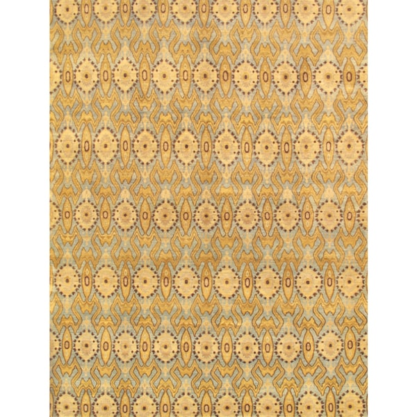 Pasargad Ikat Hand-Knotted Light Blue-Gold Wool Rug (4' x 6') - 4 x 6
