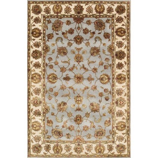 Pasargad Agra Hand-Knotted Light Blue-Ivory Silk and Wool Rug (4' x 6')