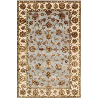 Pasargad Agra PPS-61 Hand-Knotted Light Blue-Ivory Silk and Wool Rug (4' x 6')