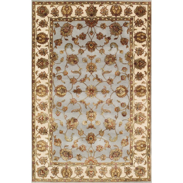 Pasargad Agra Hand-Knotted Blue-Ivory Silk and Wool Rug (4' x 6') - 4 x 6