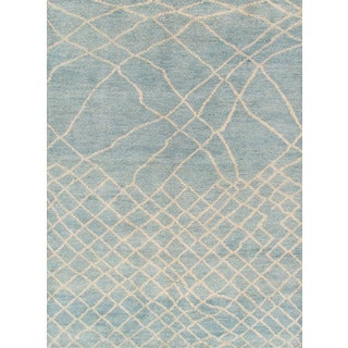 Pasargad Moroccan Hand-Knotted Light Blue Wool Rug (6' x 9')