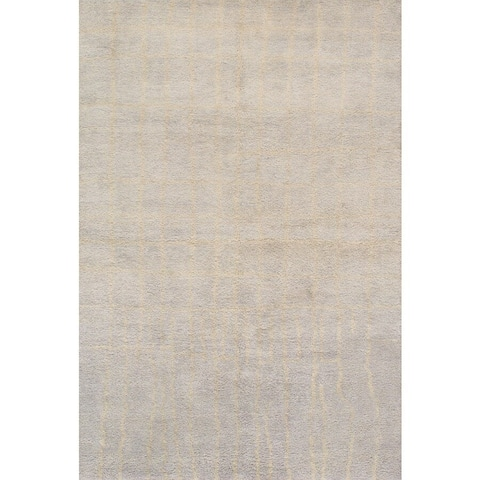 Pasargad Moroccan Hand-Knotted L.Gray Wool Rug - 6' x 9'