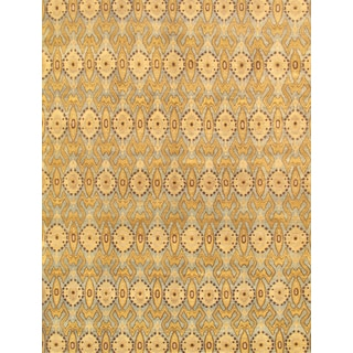 Pasargad Ikat Hand-Knotted Light Blue-Gold Wool Rug (5' x 8')