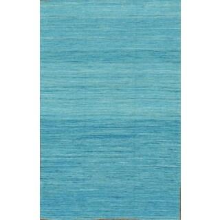 Pasargad Modern Hand-Loomed Aqua Sari Silk Rug (6' x 9')