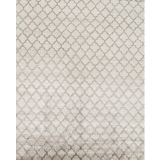 Pasargad Modern Hand-Knotted Silver-Green V.silk Rug (8' x 10')