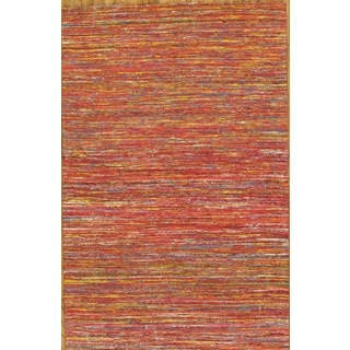 Pasargad Modern Hand-Loomed Red-Yellow Sari Silk Rug (8' x 10')