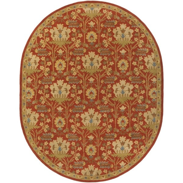 Copper Grove Kavir Hand-Tufted Floral Wool Area Rug - 8' x 10' Oval