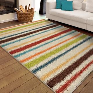 Carolina Weavers Indoor/Outdoor Cocamo Collection Stripe Life Multi Area Rug (6'5 x 9'8)