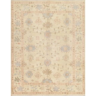 Pasargad Oushak Hand-Knotted Beige-Ivory Wool Rug (9' x 12')