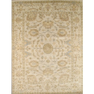 Pasargad Oushak Hand-Knotted Ivory Wool Rug (9' x 12')