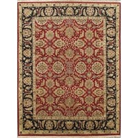 Pasargad Agra Hand-Knotted Red-Black Border Wool Rug (8' x 10') - 8 x 10