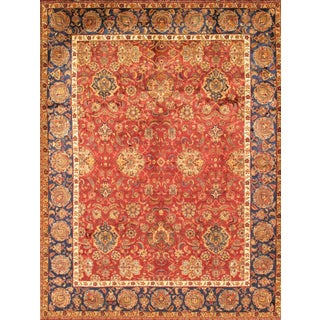 Pasargad Agra Hand-Knotted Red-Blue Silk and Wool Rug (8' x 10')