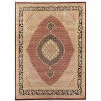 Pasargad Tabriz Hand-Knotted Red-Navy Wool Rug (8' x 11') - 8' x 11'
