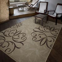 Carolina Weavers Bermuda Collection Medallion Bushel Beige Area Rug - 6'5 x 9'8