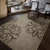 Carolina Weavers Bermuda Collection Medallion Bushel Beige Area Rug (6'5 x 9'8)