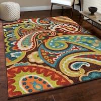 Carolina Weavers Indoor/Outdoor Santa Barbara Collection Floral Rainbow Multi Area Rug (6'5 x 9'8)