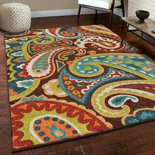 Carolina Weavers Indoor/Outdoor Santa Barbara Collection Floral Rainbow Multi Area Rug (6'5 x 9'8)