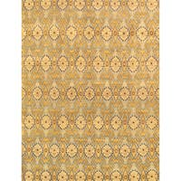 Pasargad Ikat Hand-Knotted Light Blue-Gold Wool Rug (8' x 10') - 8 x 10