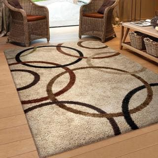 """Carolina Weavers Comfy and Cozy Riveting Shag Collection Rotating Rings Beige Shag Area Rug - 6'7"""" x 9'8"""""""