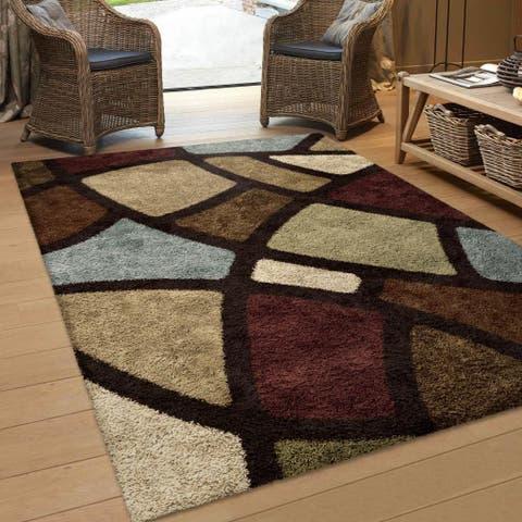 Porch & Den Addison Comfy and Cozy Window Pane Brown Shag Area Rug - 6'7 x 9'8