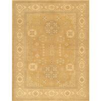 Pasargad Khotan Hand-Knotted Light Gold-Beige Wool Rug (8' x 10') - 8 x 10