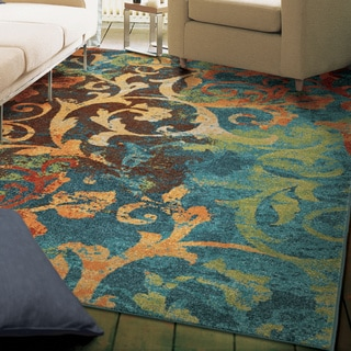 Vibrance Collection Watercolor Scroll Multi Olefin Area Rug (6'7 x 9'8)