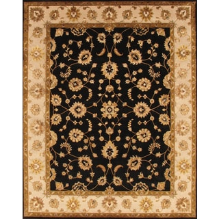 Pasargad Agra Hand-Knotted Black-Ivory Silk and Wool Rug (8' x 10')