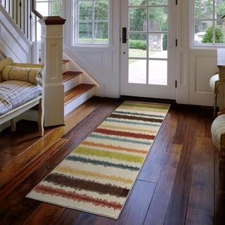 Carolina Weavers Indoor/Outdoor Cocamo Collection Stripe Life Multi Runner (2'3 x 8)
