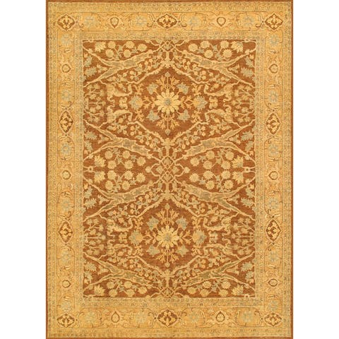 Pasargad Ferehan Hand-Knotted Brown-Gold Wool Rug (9' x 12') - 9' x 12'