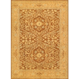 Pasargad Ferehan Hand-Knotted Brown-Gold Wool Rug (9' x 12')