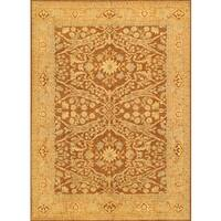 Pasargad Ferehan Hand-Knotted Brown-Gold Wool Rug (9' x 12') - 9 x 12
