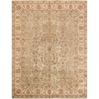 Pasargad Tabriz Hand-Knotted S.Green-Ivory Wool Rug (9' x 12') - 9' x 12'