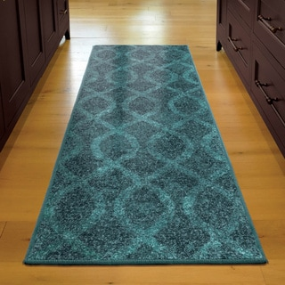 Melodic Collection Tour de Loops Aqua Olefin Area Rug (2'3 x 8')