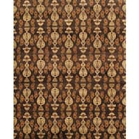 Pasargad Ikat Hand-Knotted Brown Wool Rug (8' x 10') - 8 x 10