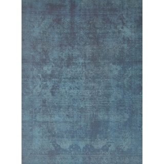 Pasargad Overdye Hand-Knotted Blue-Black Wool Rug (9' x 12')