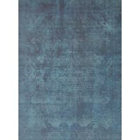 Pasargad Overdye Hand-Knotted Blue-Black Wool Rug - 9 x 12