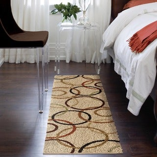 Carolina Weavers Riveting Shag Collection Rotating Rings Beige Shag Runner - 2'3 x 8