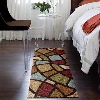 Oasis Shag Collection Oval Day Brown Area Rug (2'3 x 8')